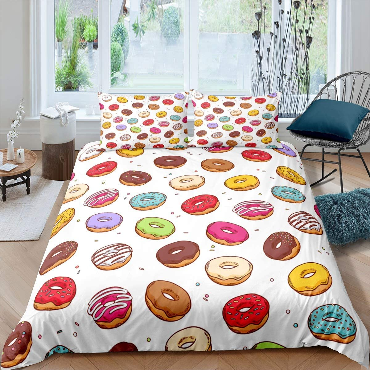 Feelyou Girls Bedding Set Twin Size for Kids Child Teens Cute Donuts Print Duvet Cover Set,Dessert Theme Comforter Cover Lovely Cartoon Foods Theme Funny Decor 2 Pcs Soft Bedspread Cover