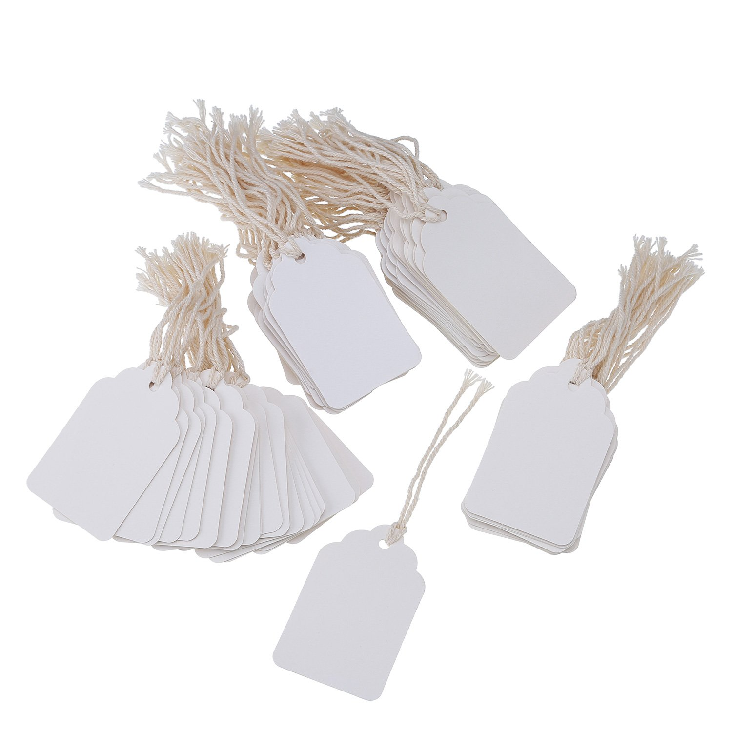 Khaki 200 Pack Pangda White Paper Gift Tags Marking Tags Price Tags Price Labels Display Tags with Hanging String 44 by 70 mm