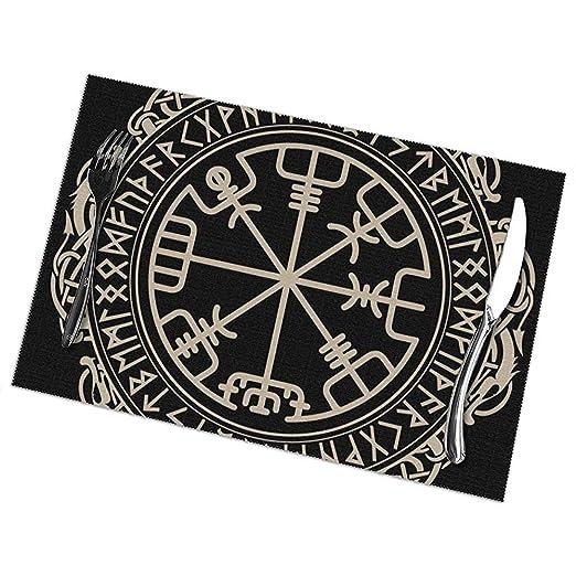 Manteles individuales de mesa Juego de 6 Brújula vikinga celta ...