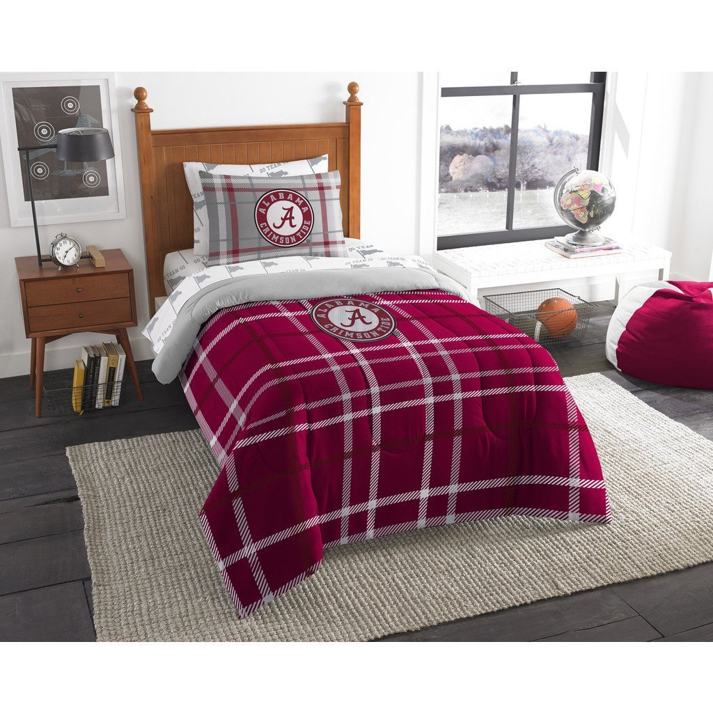 5pc NCAA COL Alabama Crimson Tide Tuscaloosa Football Twin Comforter Set, Alabama Merchandise, Red Grey, College Football Themed, Sports Patterned Bedding, Team Logo, Team Spirit