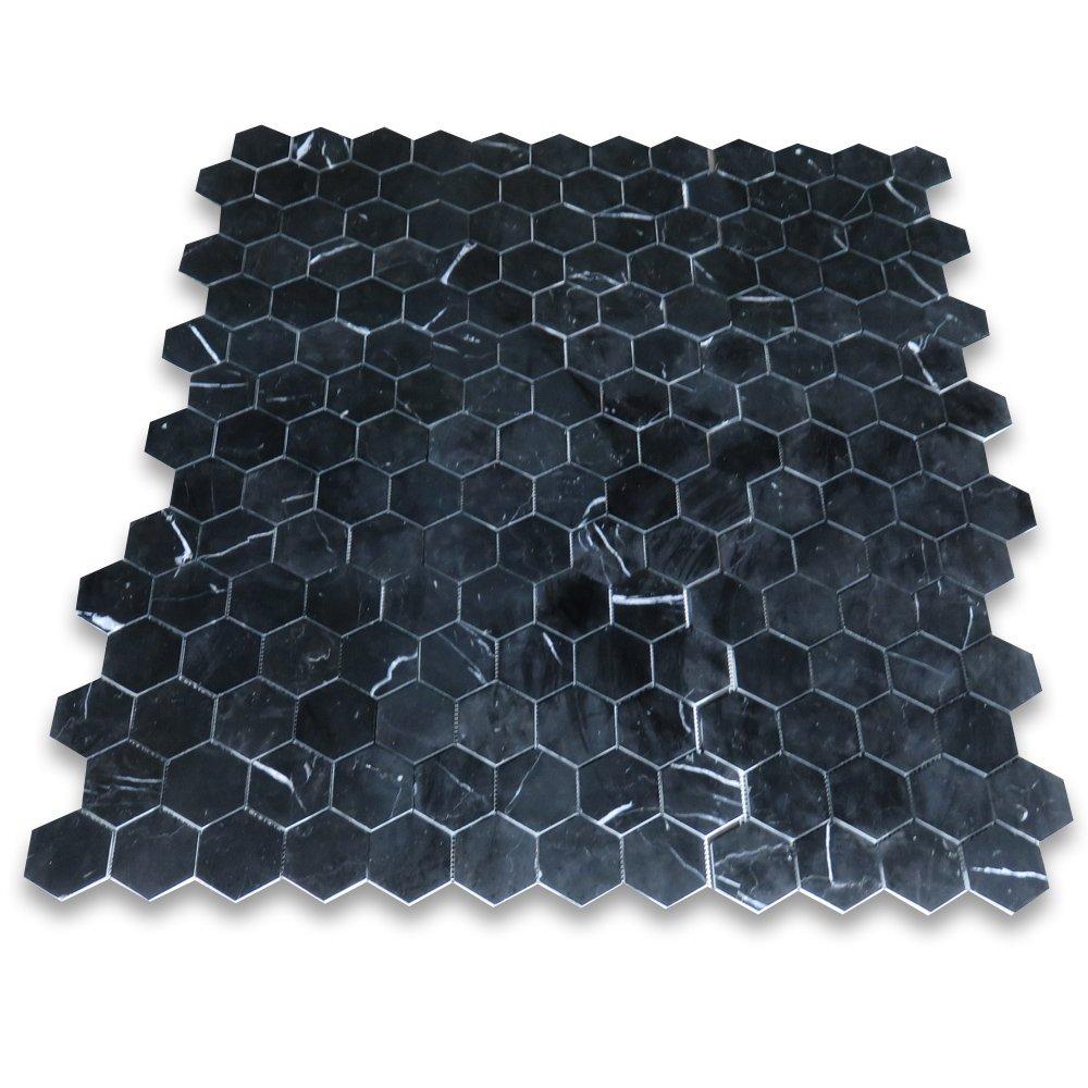 Nero Marquina Black Marble Hexagon Mosaic Tile 3 inch Polished