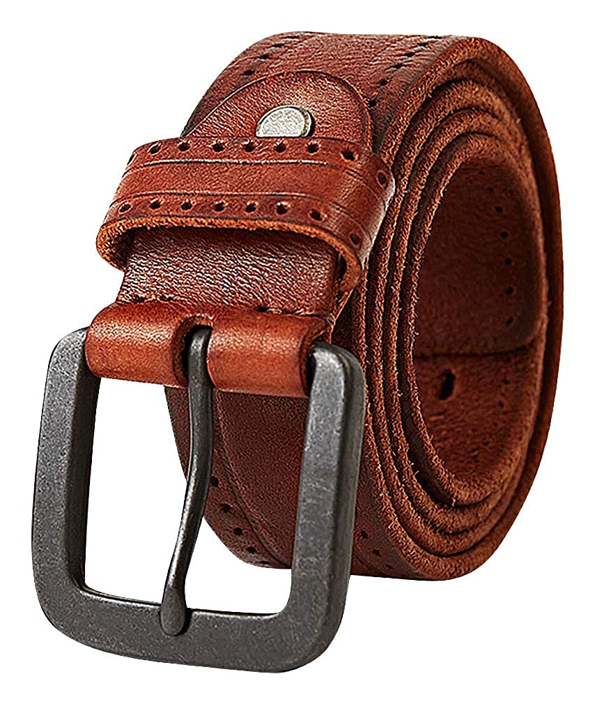 Celino Men Raw Perforated Edges 1.5 Wide Alloy Pin Buckle Cowhide Belt