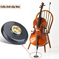 Cello Mat, Anti-Slip Cello Pad Plastic + Metal Holder Floor Protector Musical Instrument Accessory (Black)