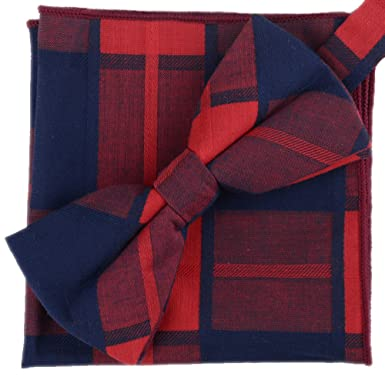 c091547d71dd Flairs New York Gentleman's Winter Collection Bow Tie & Pocket Square  Matching Set (Christmas Red / Midnight Blue [Checkered]): Amazon.in:  Clothing & ...