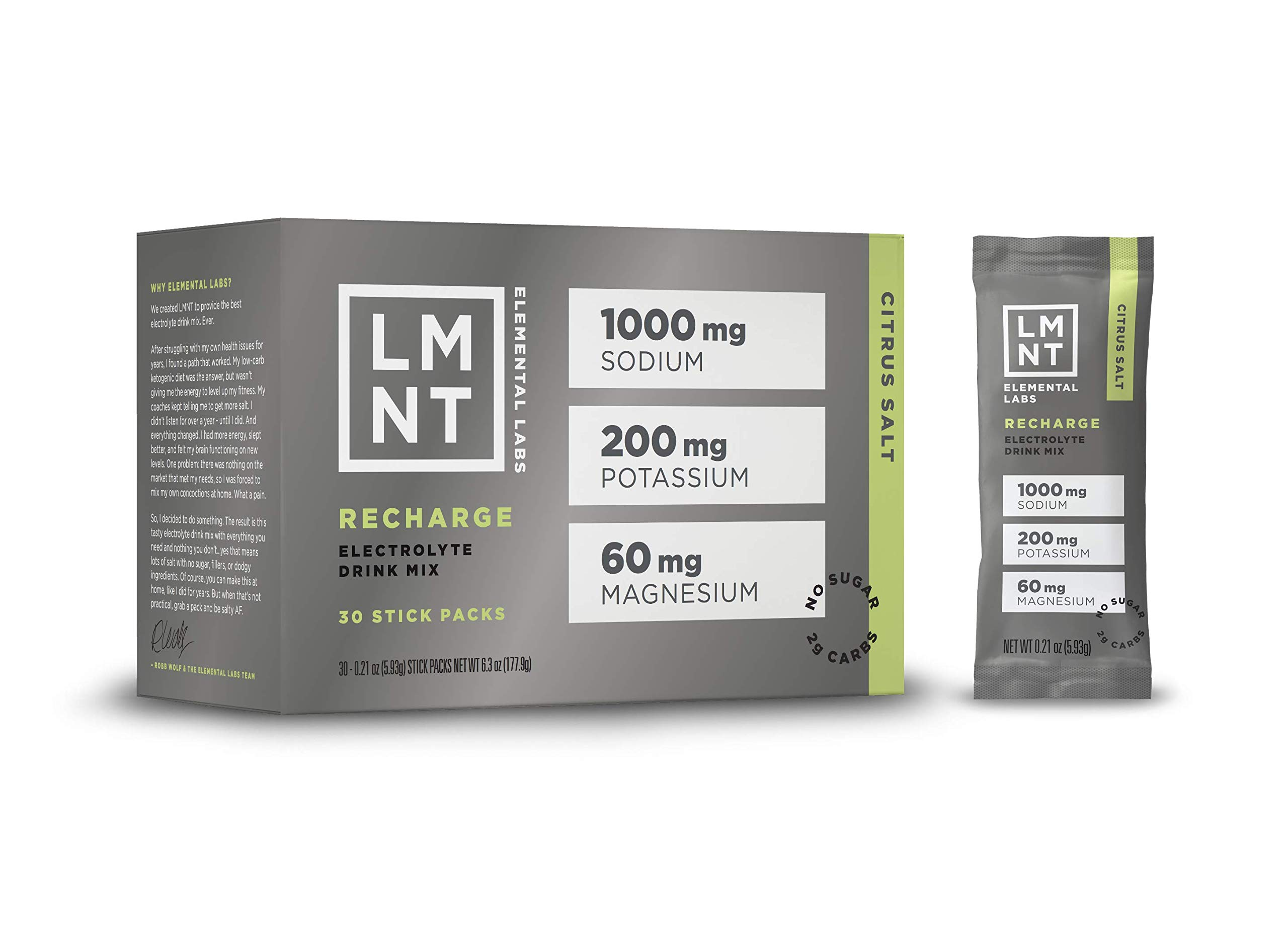 LMNT Recharge Electrolyte Drink Mix | Citrus Salt | Hydration Powder Packs | Keto, Paleo, Vegan, Non-GMO, Gluten-Free, No Sugar, No Artificial Ingredients | Maximize The Energy Health Benefits of Salt by Elemental Labs