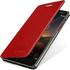 StilGut Book Type Berlin, Housse Nokia 6 2018 en cuir de qualité et en TPU avec porte-cartes. Étui flip-case de protection à ouverture latérale avec blockage RFID (RFID/NFC blocker), rouge/transparent