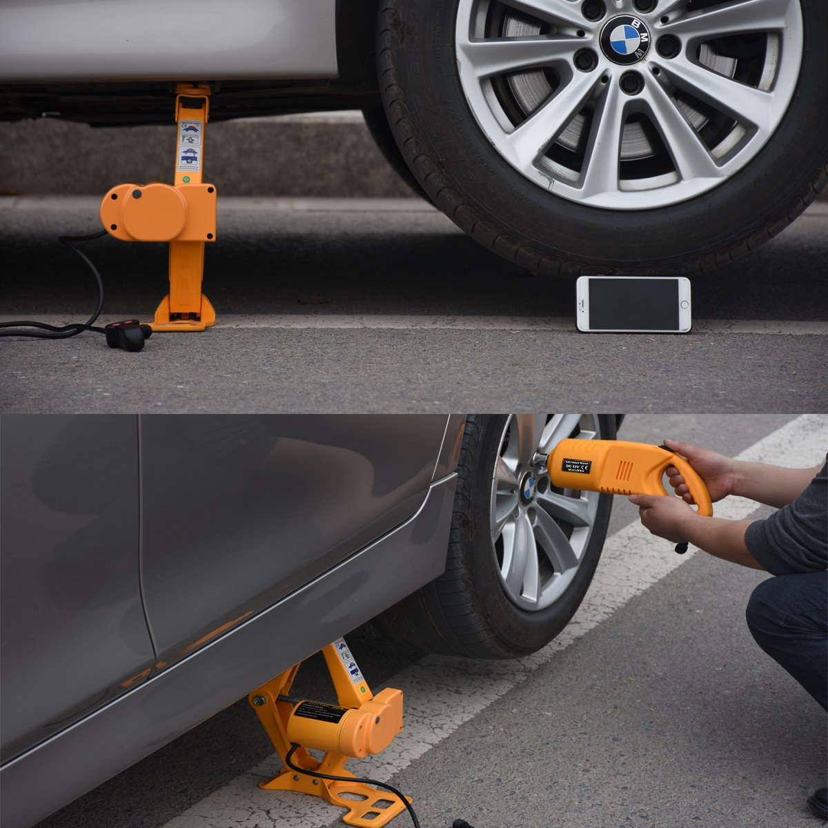 MarchInn 12V DC 3T(6600lb) Electric Car Jack - Double Saddles for Vehicle and SUV - and Electric Impact Wrench with Wireless Remote by MarchInn (Image #7)