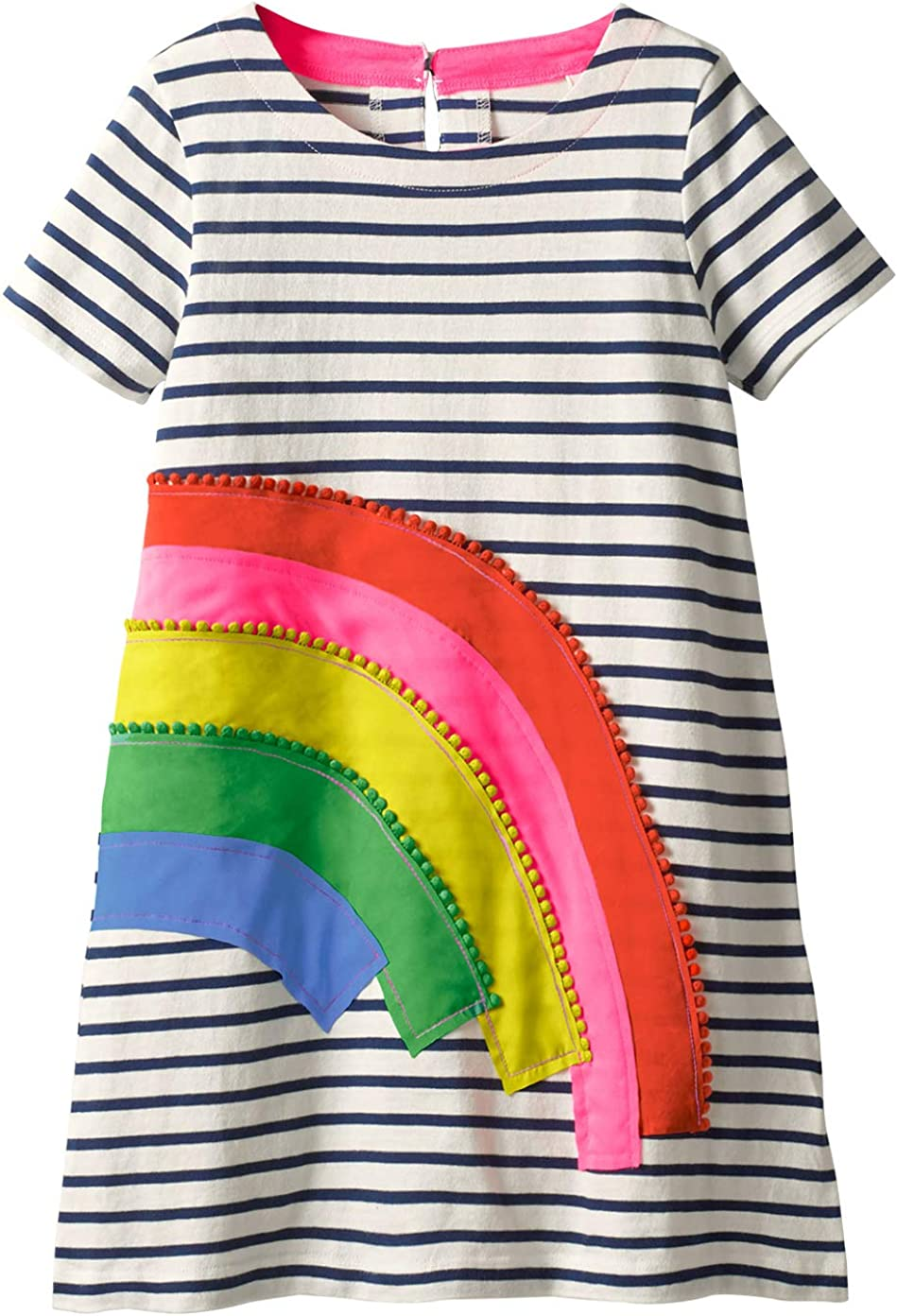 Fiream Girls Dresses Cotton Striped Cartoon Applique Casual Animal Printed Outfits Dress: Clothing