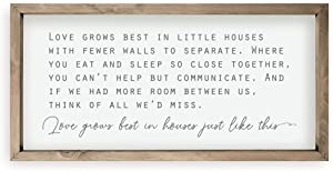 Love Grows Best In Little Houses Framed Wood Farmhouse Wall Sign 10x19