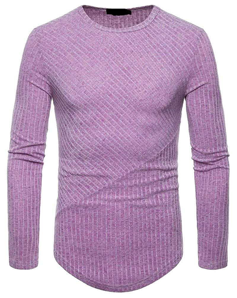 Wopop Mens Knitted Loose Curved Hem Crewneck Pullover Jumper Sweaters