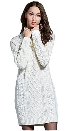 3617eba9501d Damen Winter Strickkleid Wollkleid Strickpullover Rollkragen Langarm  Pullover Kleid (L, Weiss)