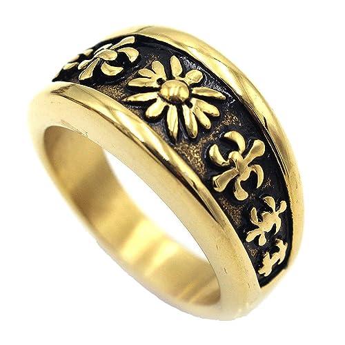 JAJAFOOK Jewelry Titanium Steel Gold Plating Men's Rings
