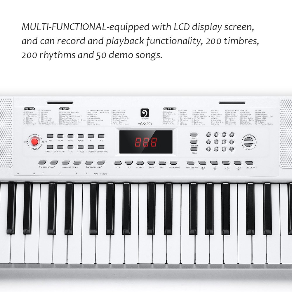 Electronic Keyboard Piano, 49-Lighted Key Electric Piano Keyboard with 3 Teaching Mode, Microphone, 200 Tones, 200 Rhythm, 50 Demo Songs, 5 Percussion, White by Vangoa (Image #6)