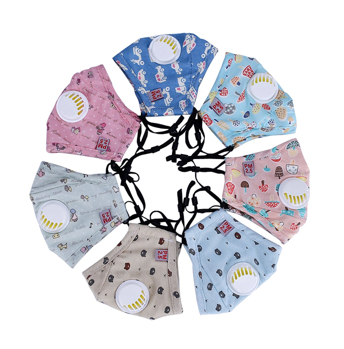 3PCS Schö ne Kinder PM2.5 Baumwoll-Mundschutz Anti Verschmutzung Maske mit Filter Atemschutzmaske fü r Outdoor(Farben in zufä lliger) Dr.Sosmonki