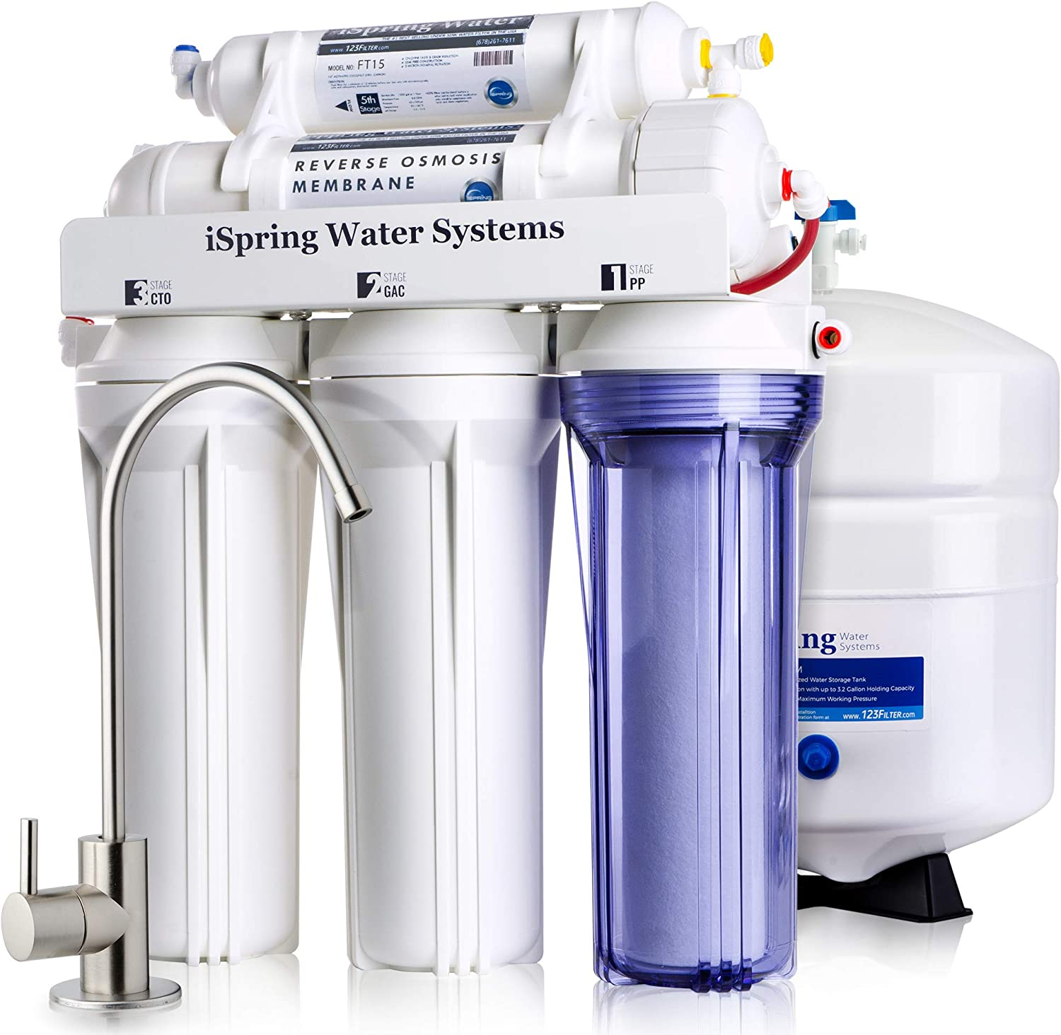 iSpring RCC7 High Capacity Under Sink 5-Stage Reverse Osmosis Drinking Filtration System and Ultimate Water Softener, 75 GPD, Brushed Nickel Faucet - Undersink Water Filtration Systems - .com