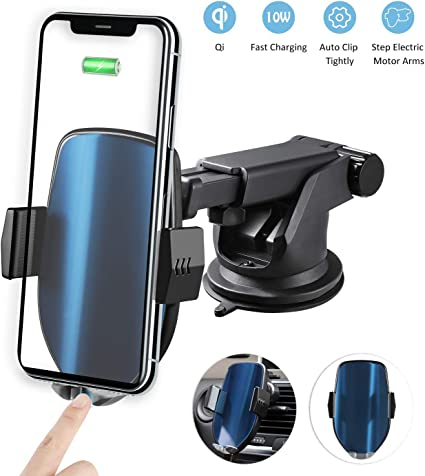 10W Qi Fast Charging Car Phone Holder Black - Silver Air Vent Compatible iPhone Xs//Max//X//XR//8//8 Plus,Samsung Note 9// S9// S9+// S8|Multi Protection Wireless Car Charger and Holder