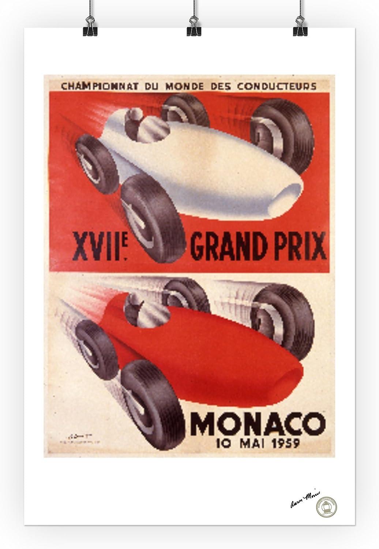 36x54 Giclee Gallery Print, Wall Decor Travel Poster 1959 artist: Leuenberger XVII Grand Prix Monaco Vintage Poster Monaco c