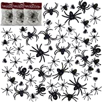 Halloween Spider Web Decorations, Shellvcase 3 Pack Spider Web with 69 Pcs Plastic Spiders, Super Stretchy Cobwebs Scary…