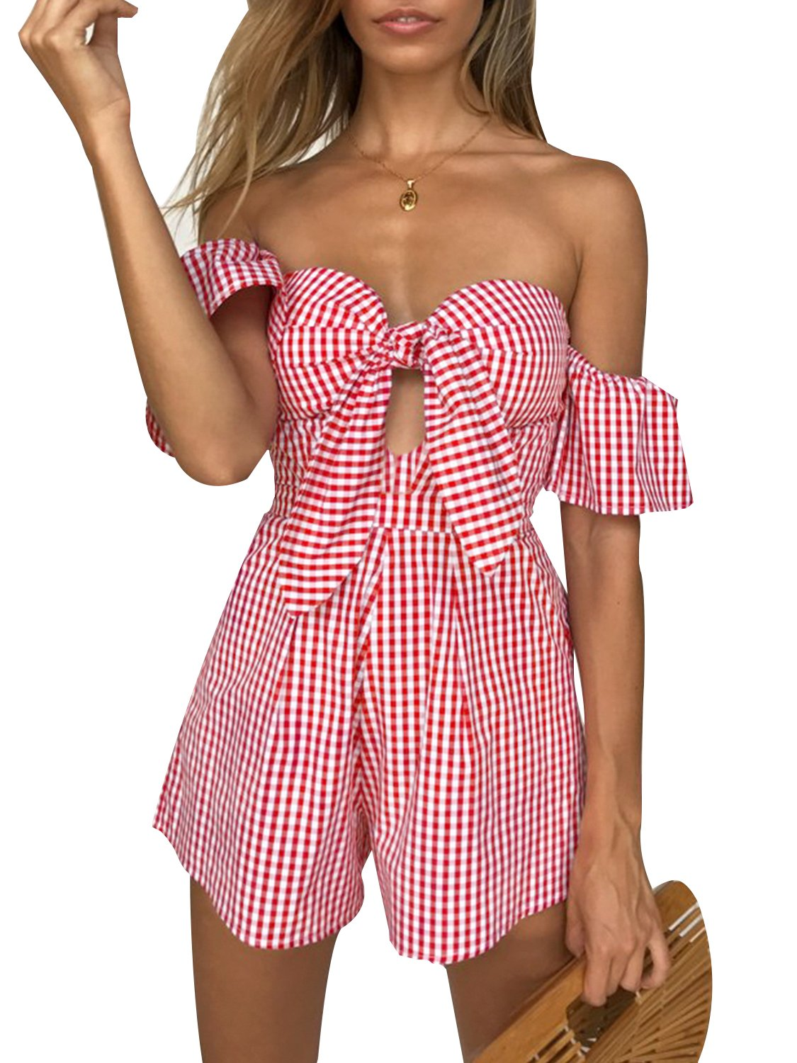 BerryGo Women's Sexy Off Shoulder Romper Plaid Bow Short Jumpsuit Playsuit Summer