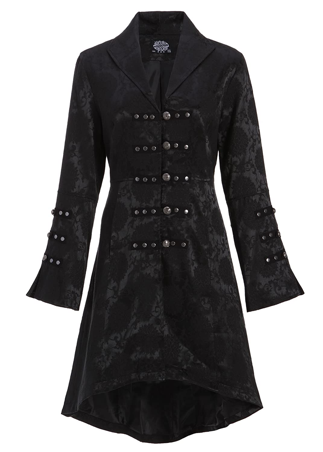 Womens Black Brocade Gothic Steampunk Floral Jacket Coat