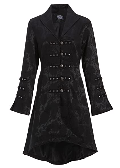 Amazon.com: Womens Black Brocade Gothic Steampunk Floral Jacket ...