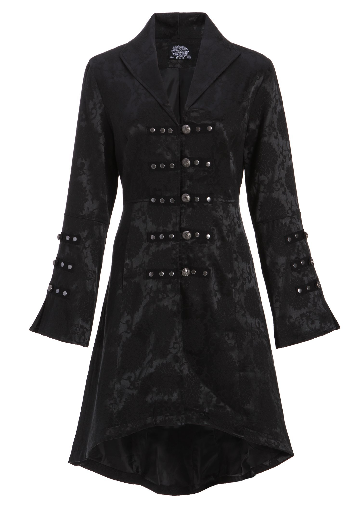 Womens Black Brocade Gothic Steampunk Floral Jacket Pirate Coat 3