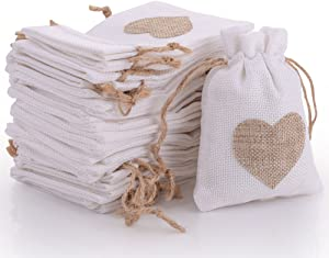 50pcs Burlap Bags Gift Pouches Heart Small Candy Jewelry Storage Package Sack for Wedding Bridal Shower Birthday Party Christmas Valentine's Day Favors DIY Craft, White 5.5x3.7 inch