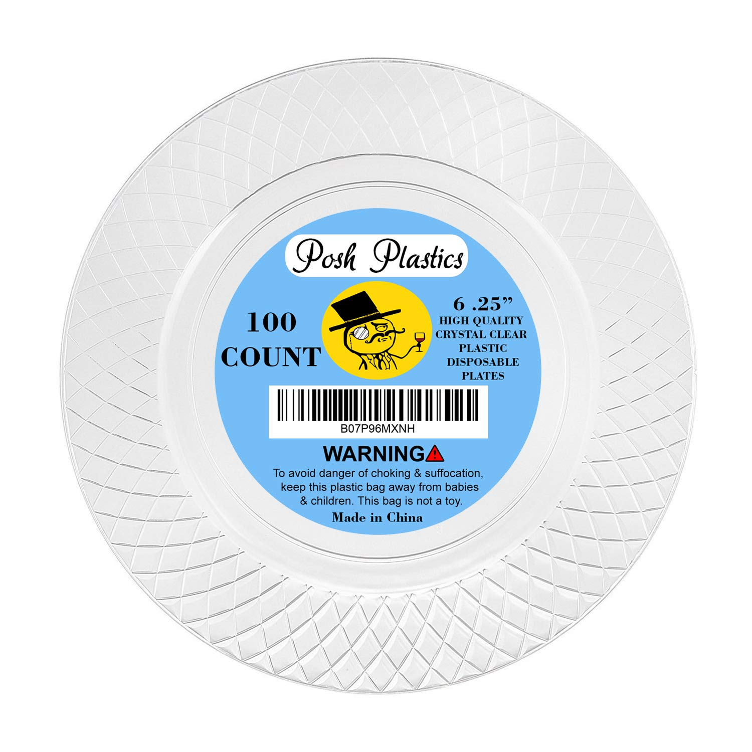 100 CRYSTAL CLEAR PLASTIC PLATES | 6 .25 Inch Disposable Plates | Elegant Wedding Plates | Strong Dessert Plates | Fancy Round Party Plates | Heavy Duty Appetizer Plates | Small Cake By Posh Plastics by Posh Plastics