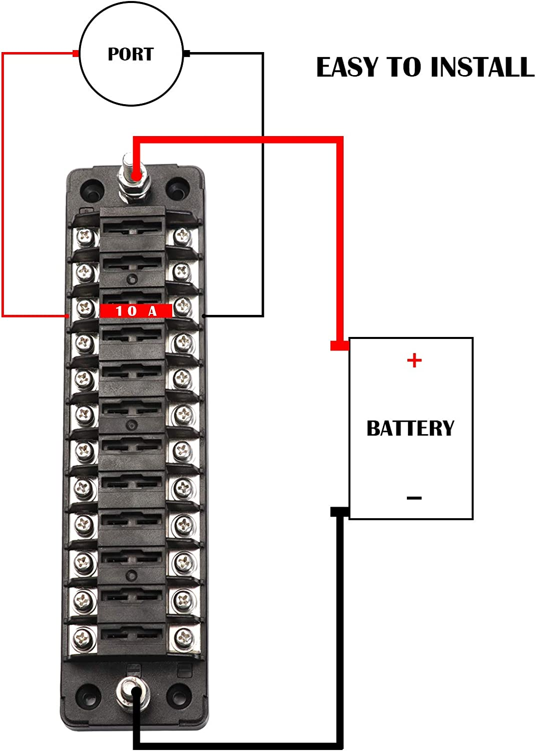 ATC//ATO Automotive with Negative Bus Fuse Panel for Car Marine Boat Truck. Elitezip 12-Way Car Fuse Box Fuse Block Holder with Cover 12-Way