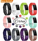 Fundro Fitbit Charge 2 Bands, Soft Accessory Replacement Wristband Strap Classic Large Small Band with Secure Metal Clasp for Fitbit Charge 2
