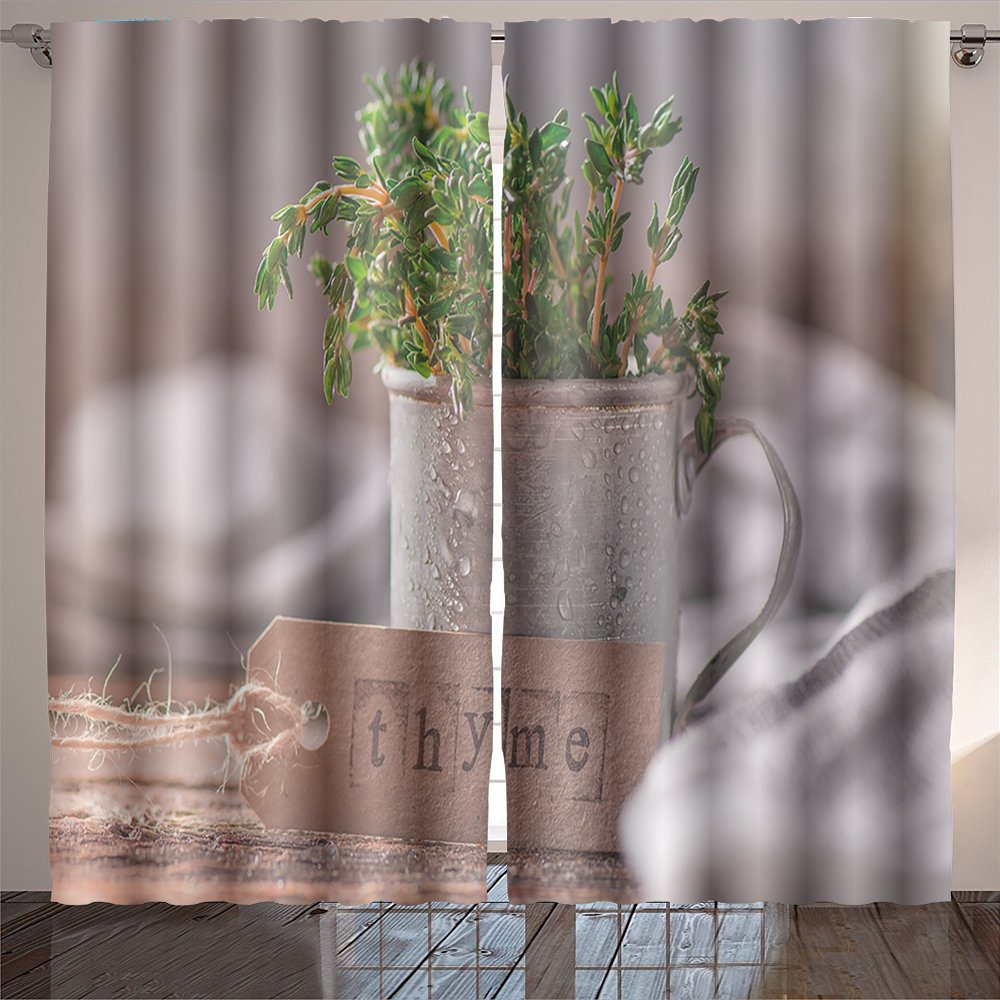 Nalahome thyme bunch of fresh green thyme in the vintage rustic mug on the wooden table fragrant herbs Digital Printed Blackout Window Curtains 84x108 inches