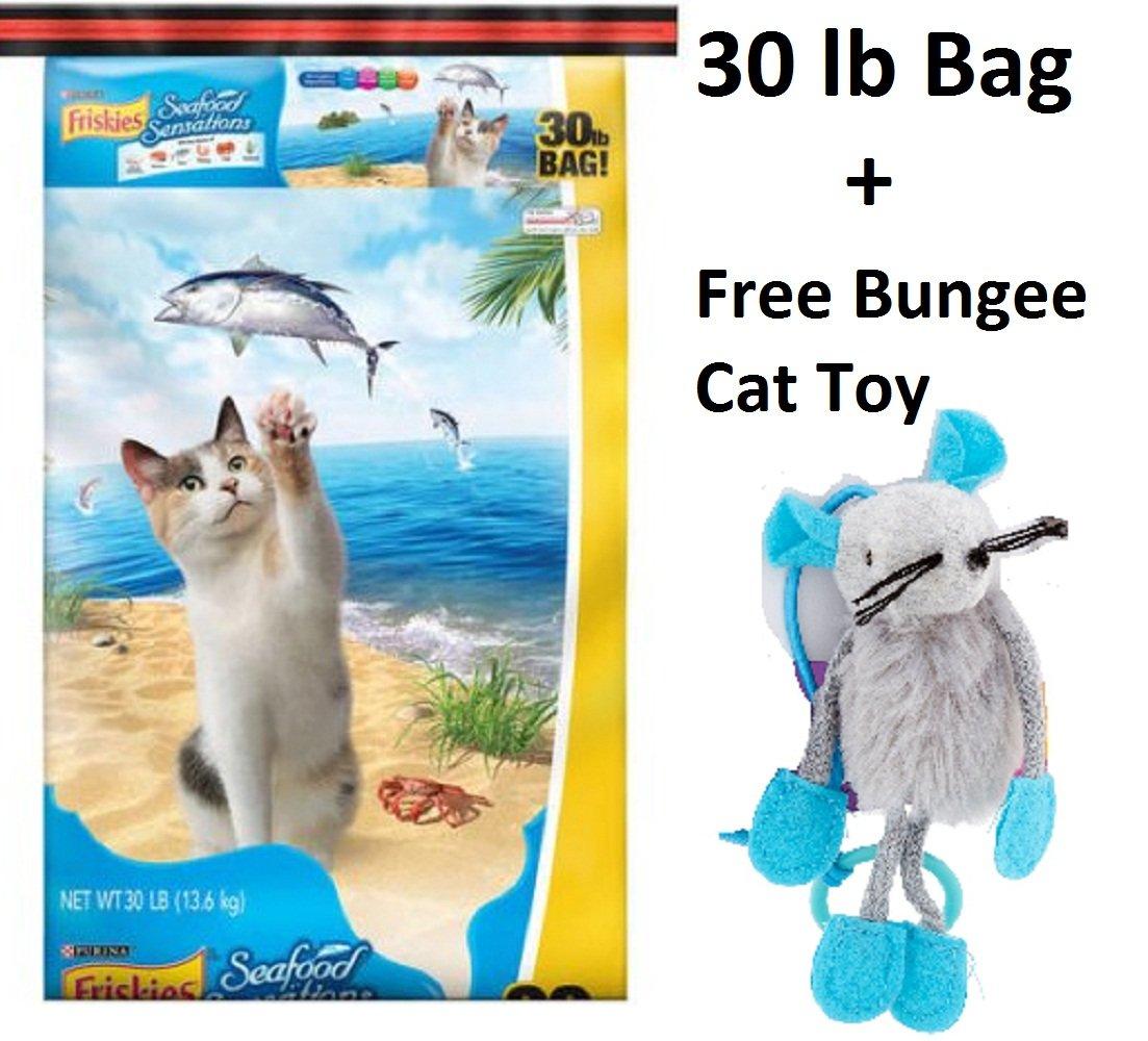 Purina Friskies Seafood Sensations Dry Cat Food, 30 lb (6 Bags + Freebie)