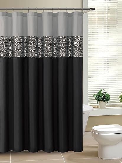 Rio Black And Gray Fabric Shower Curtain With Metallic Silver Accent Stripe By Victoria Classics Ltd