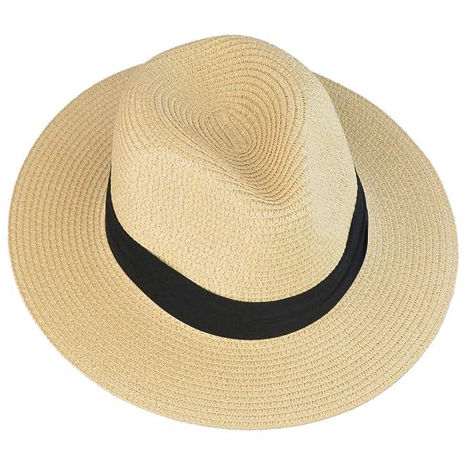 b21e55eb mifengdaer Woman Rollable Panama hat Girls Foldable Floppy Straw Hat Ladies  Hand Woven Beach Cap Sun