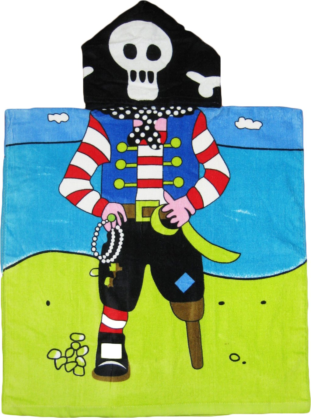 Pirate 100% Cotton Poncho Style Hooded Bath & Beach Towel with Colorful Double Sized Design