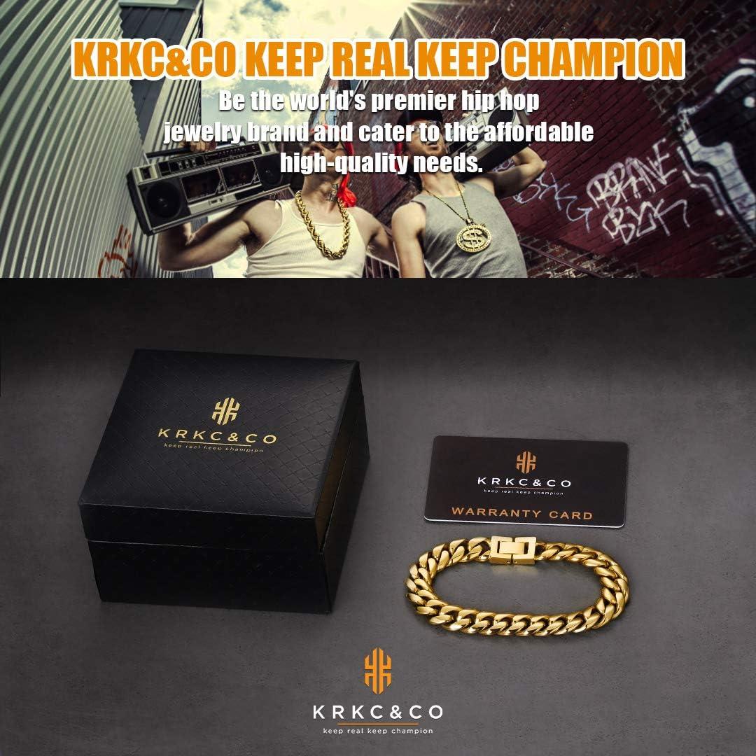 KRKC/&CO Cuban Link Bracelet 10mm 12mm 14mm Men Gold Bracelet Gold//White Gold Plated Curb Durable Urban Street-wear 14k 18k Gold Plated Curb Bracelet for Men Woman