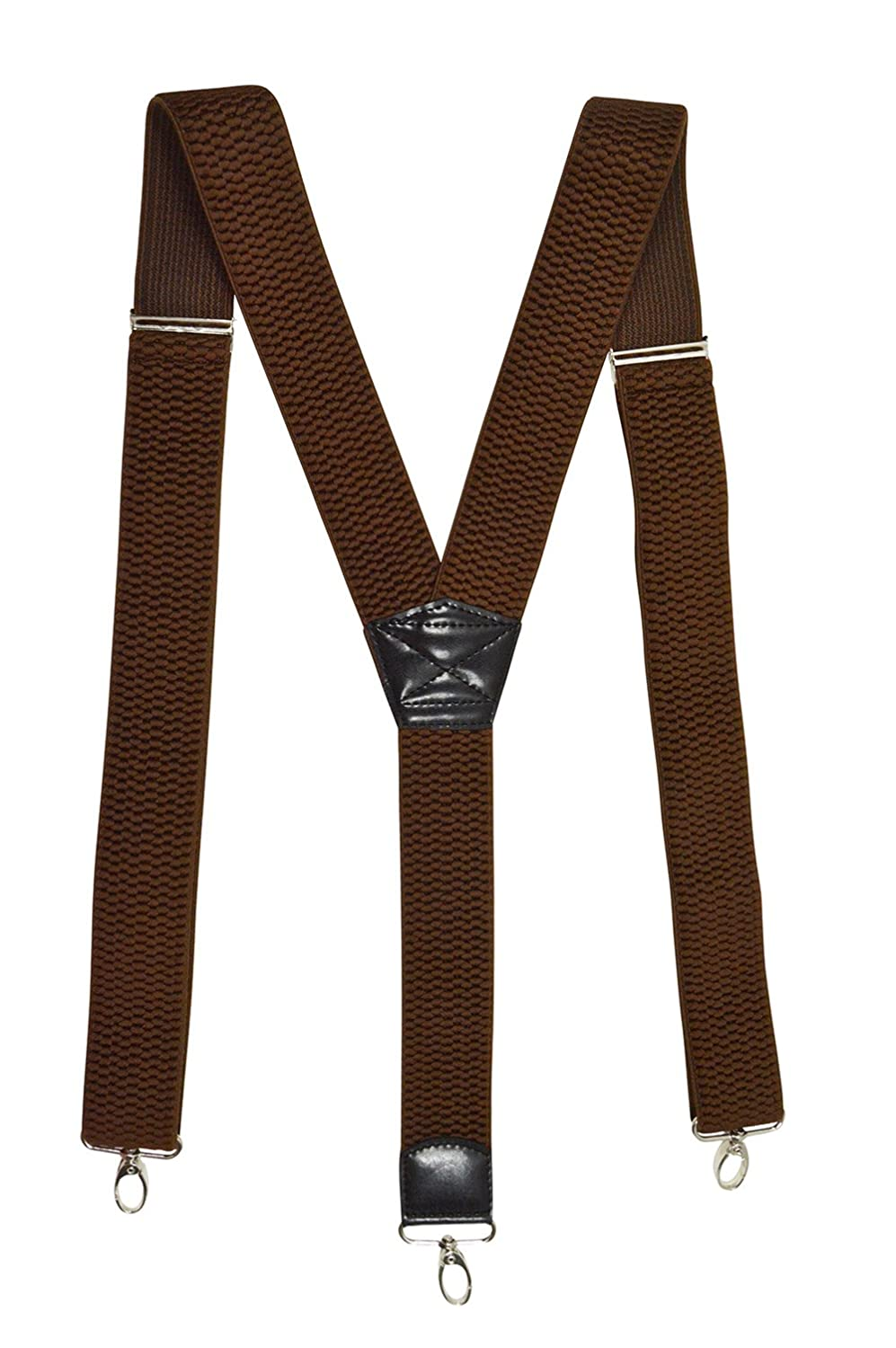 Heavy Duty Y-Shape Braces with Carabiner Clips, 4cm 4cm - Brown BRACES2S-brown