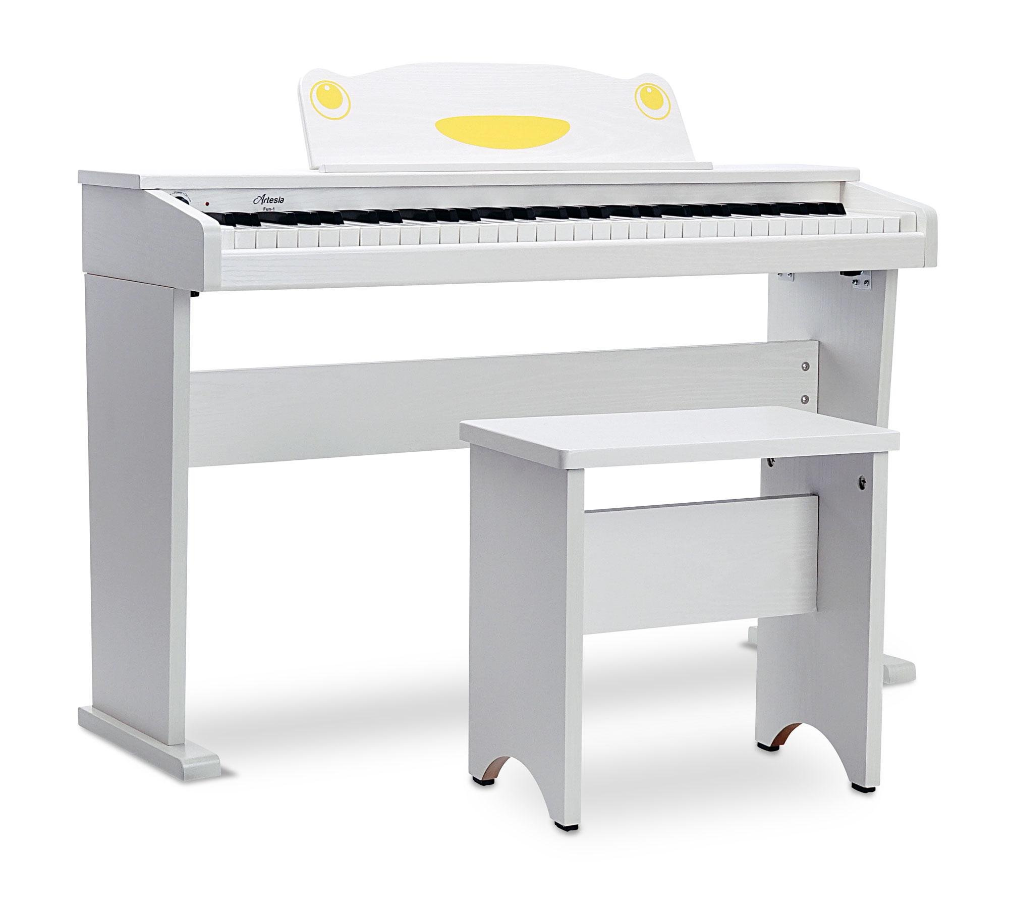 Artesia FUN-1 61-Key Childrens Digital Piano with Bench and Headphones - White