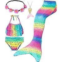 Le SSara Conjunto de 5 Piezas Colas de Sirena para Nadar Traje de Baño para Niñas Princesa Bikini 3-12 años (Sin Monofin…