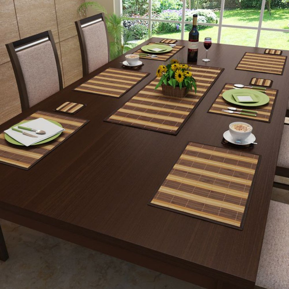 Buy Freelance Bamboo Table Mats Kitchen Dining Placemats Set Of 6 Pcs 30 X 45 Cm Online At Low Prices In India