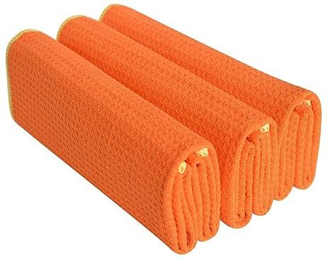 Sinland Microfiber Waffle Weave Kitchen Towels Dish Cloth 3 Pack 16inch X  24inch Orange/edge