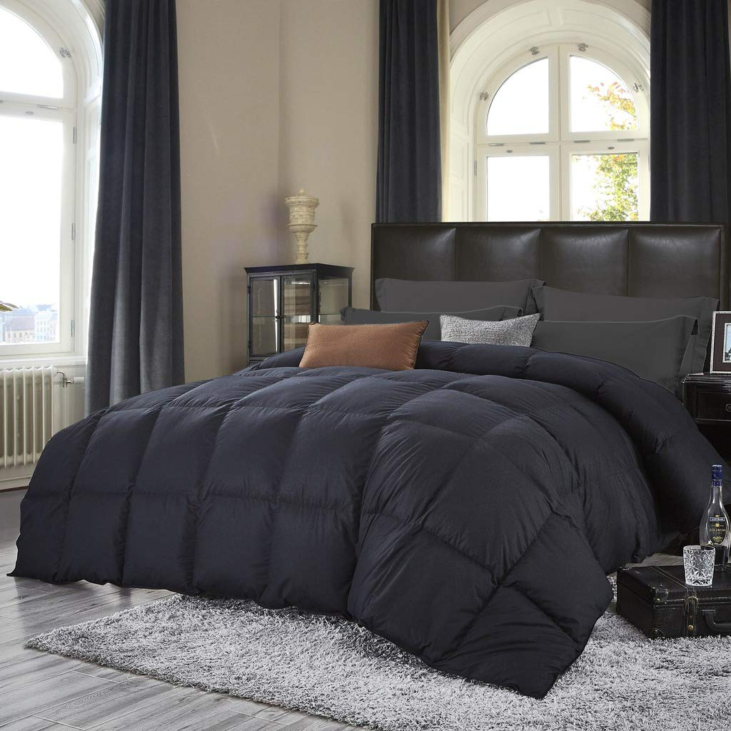 Luxurious All-Season Goose Down Comforter King Size Duvet Insert, Classic Black, Premium Baffle Box, 1200 Thread Count 100% Egyptian Cotton Cover, 750+ Fill Power, 65 oz Fill Weight (King, Black) by Egyptian Cotton Factory Outlet Store (Image #2)