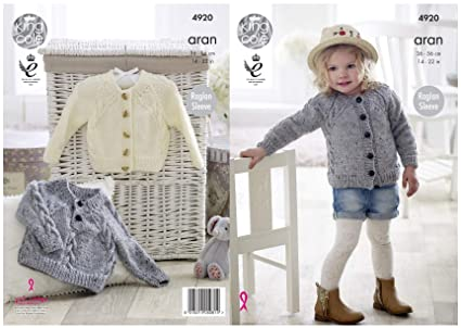 Amazon Com King Cole Girls Aran Knitting Pattern Childrens Cabled