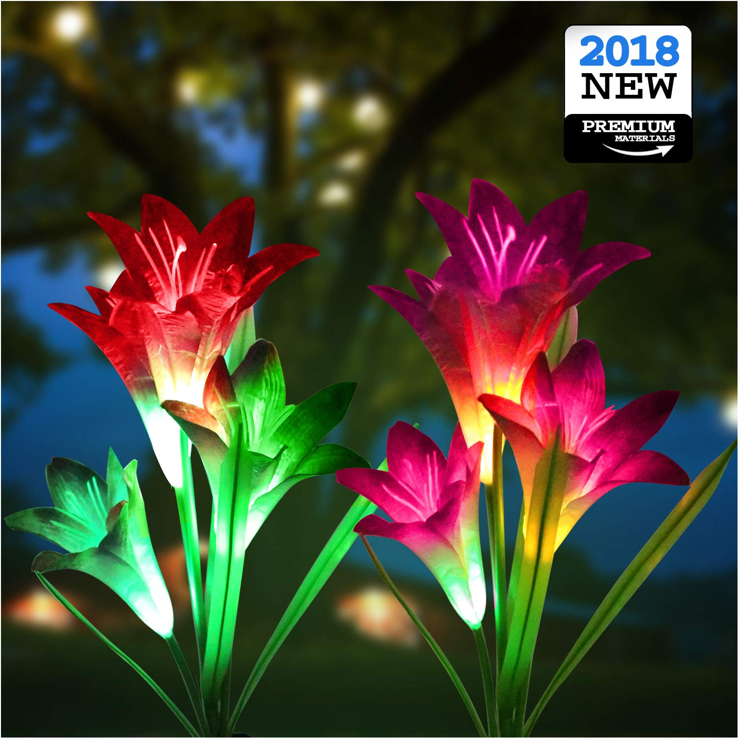 Solar Lights Outdoor - New Upgraded Solar Garden Lights, Multi-Color Changing Lily Solar Flower Lights for Patio,Yard Decoration, Bigger Flower and Wider Solar Panel(2 Pack, Purple and Red)