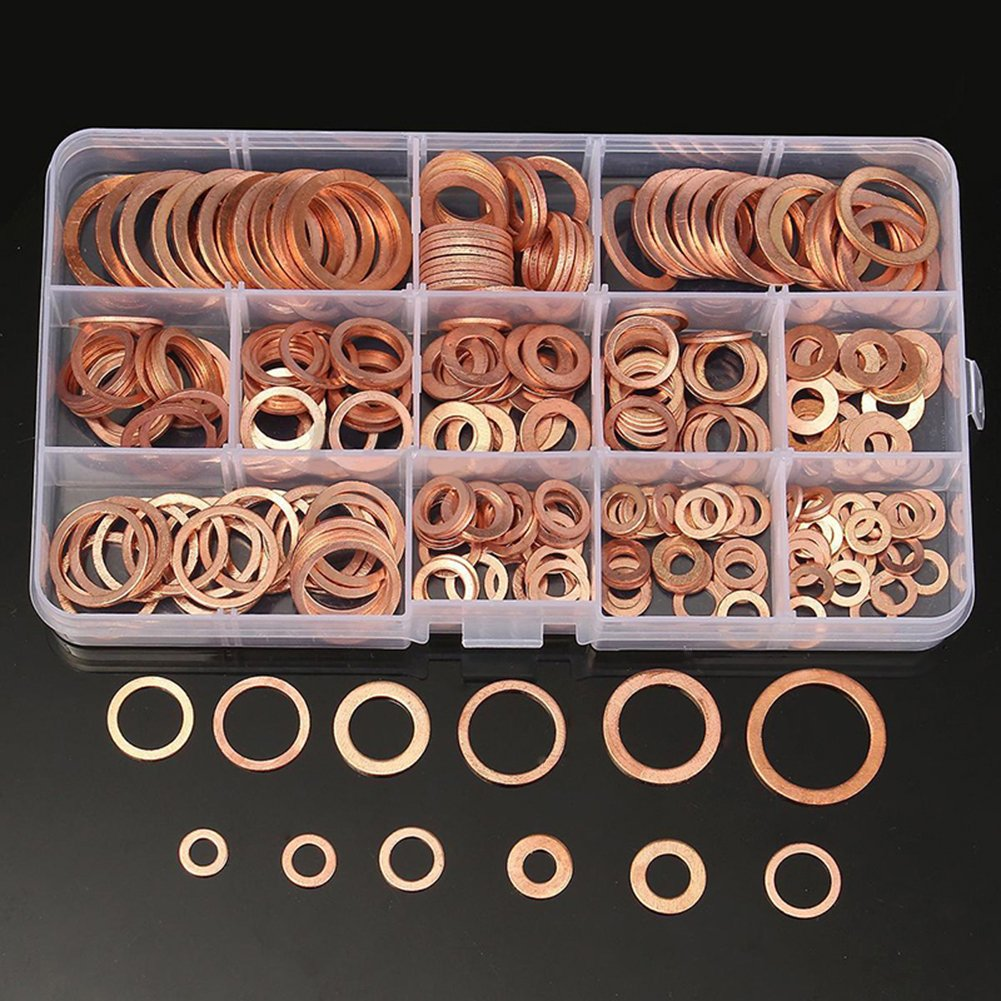 Copper Washer Set, Molie 150 PCS Car Copper Washer Auto Repair Tools Oil Seal Sheet Gasket