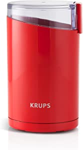 KRUPS Electric Spice and Coffee Grinder with Stainless Steel Blades, Red