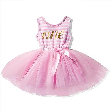 fe5cde41c606 NNJXD Girl Sleeveless Shinny Stripe Baby Girl Printed Tutu Birthday ...