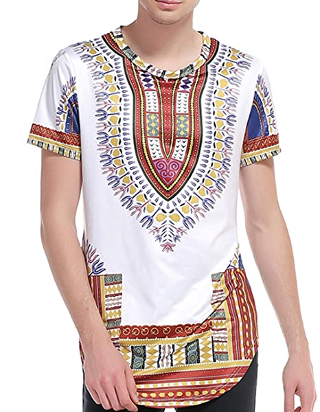 5f16d796107a Miskely Men s Dashiki T Shirt Bright African Traditional Printed Summer Hip  Hop Cotton Top Tees (