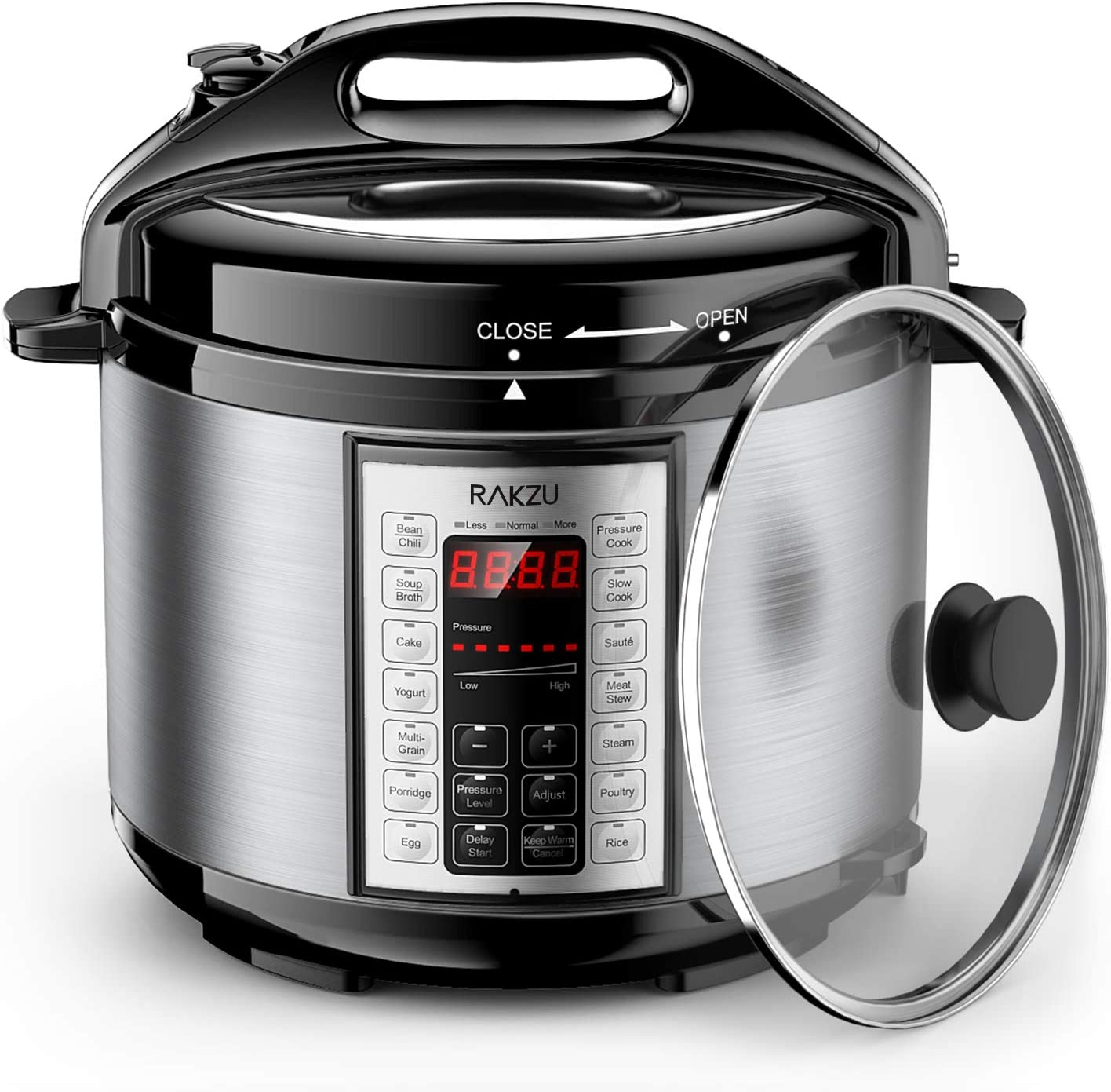 RAKZU 6 Qt 9-in-1 Multi-use Programmable Electric Pressure Cooker with Stainless Steel Pot, Slow Cooker, Rice Cooker, Yogurt Maker, Sauté Steamer, Warmer and Sterilizer
