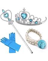 Set da Principessa Dei Ghiacci, Diadema, Guanti, Bacchetta Magica e Treccia a Clip 2-9 Anni, Azzurro